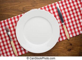tenedor, placa, de madera, encima, cuchillo, mantel, vacío