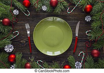 tenedor, placa, de madera, verde, cuchillo, decoraciones,...