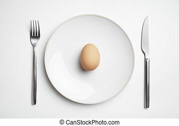 tenedor, placa, huevo, cuchillo