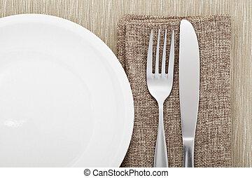 tenedor, placa, lado, cuchillo
