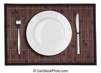 tenedor, placa, mantel individual, aislado, bambú, blanco,...