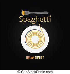 tenedor, placa, menú, plano de fondo, pastas, espaguetis