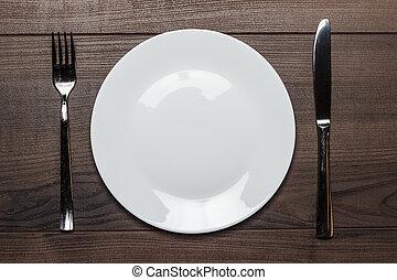 tenedor, placa, tabla de madera, blanco, cuchillo