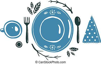 tenedor, placa, taza, cuchara, ajuste, diseño, lugar