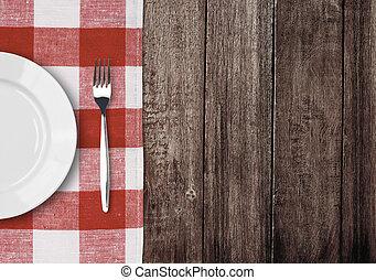 tenedor, placa, viejo, copyspace, tabla de madera, comprobado, blanco, mantel, rojo