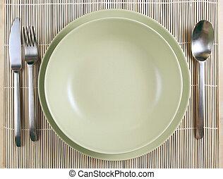 tenedor, placas, cuchara, verde, cuchillo