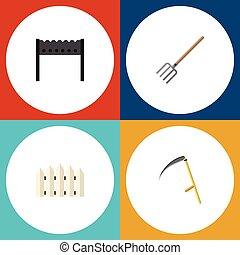 tenedor, plano, conjunto, elements., barrera, dacha, cerca, ...