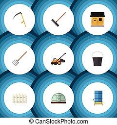 tenedor, plano, conjunto, elements., contenedor, dacha, de ...