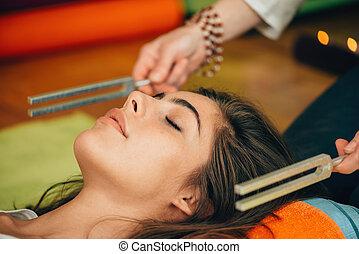 tenedor, sonido, terapia, afinación