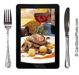 tenedor, tableta, alimento, foto, conceptual, cuchillo