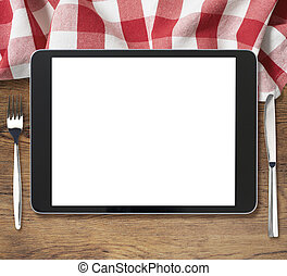 tenedor, tableta, de madera,  PC, negro, tabla, cuchillo