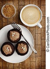 tenedor, taza para café, de madera, chocolate, plano de fondo, hada, pasteles