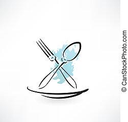 tenedor, y, cuchara, icono