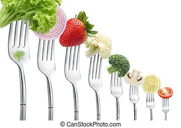 tenedores, con, vegetales