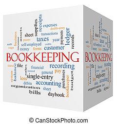 teneduría de libros, 3d, cubo, palabra, nube, concepto