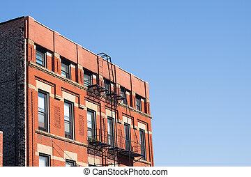 Tenement architecture, Chinatown, Chicago, USA