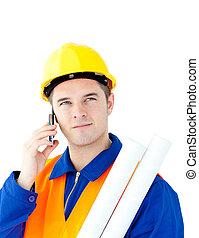tenencia, arquitecto, hablar, macho, teléfono, planos, ...