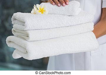 tenencia, belleza, terapeuta, pila, Toallas, fresco, blanco
