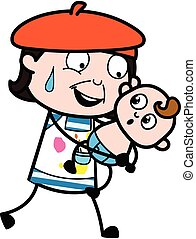 tenencia, caricatura, bebé, artista