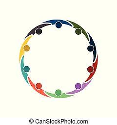 tenencia, cumbre, circle., room., mismo, diez, hands., potencia, grupo, trabajadores, reunión, personas