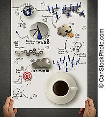 tenencia de la mano, 3d, taza para café, en, estrategia de la corporación mercantil, diagrama