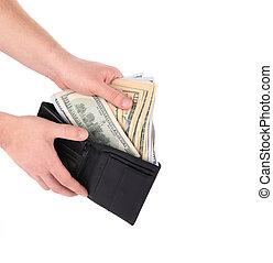 tenencia de la mano, billetera, con, dólar, bills.