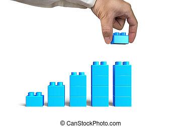 tenencia de la mano, bloque azul, completo, crecimiento, impida gráfico, forma