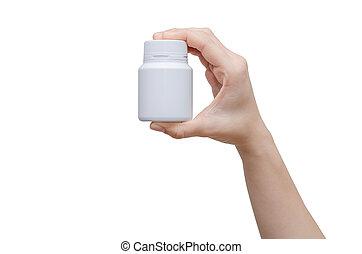 tenencia de la mano, botella medicina