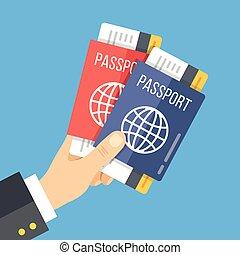 tenencia de la mano, dos, pasaportes, con, tickets., vector, ilustración