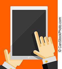 tenencia de la mano, elegante, teléfono, moderno, plano, diseño