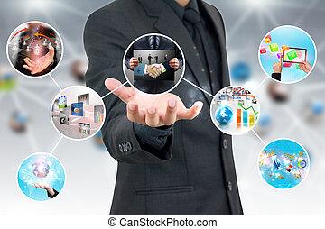 tenencia de la mano, empresa / negocio, diagrama