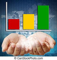 tenencia de la mano, empresa / negocio, gráfico, inversión