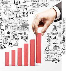 tenencia de la mano, empresa / negocio, gráfico