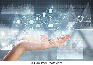 tenencia de la mano, empresa / negocio, holograma
