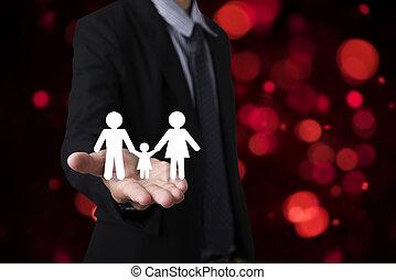 tenencia de la mano, family., concepto, certeza, atención sanitaria, insurance.