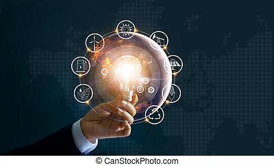 tenencia de la mano, foco, delante de, global, exposición, el, mundo, consumo, con, iconos, energía, fuentes, para, renovable, sostenible, development., ecología, concept., elementos, de, esto, imagen, amueblado, por, nasa.