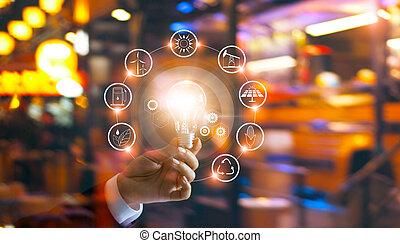 tenencia de la mano, foco, delante de, global, exposición, el, mundo, consumo, con, iconos, energía, fuentes, para, renovable, sostenible, development., ecología, concept.