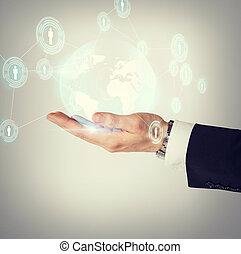 tenencia de la mano, holograma, con, globo