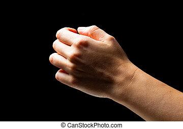 tenencia de la mano, invisible, objeto