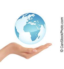 tenencia de la mano, la tierra, globo