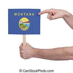 tenencia de la mano, pequeño, tarjeta, -, bandera, de, montana