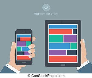tenencia de la mano, tableta, y, teléfono, plano, diseño