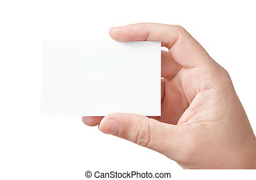 tenencia de la mano, tarjeta comercial en blanco
