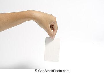 tenencia de la mano, tarjeta comercial