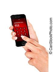 tenencia de la mano, teléfono móvil, con, emergencia, número, 911