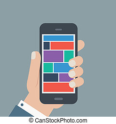 tenencia de la mano, teléfono, plano, diseño