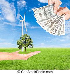 tenencia de la mano, turbina del viento, con, árbol, y,...