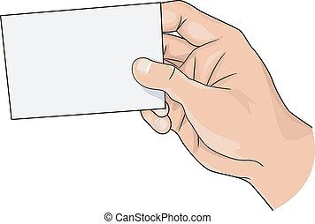 tenencia de la mano, un, blanco, tarjeta