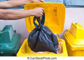 lleno llevar Azul plástica mano a cabo la Bolsa bolsa basura wS0nHx5fP