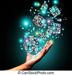 tenencia de la mano, virtual, caja